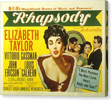 Rhapsody, Elizabeth Taylor, 1954 Canvas Print by Everett