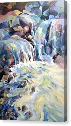 Canvas Print featuring the painting Rhapsody In Blues And Greens by Rae Andrews