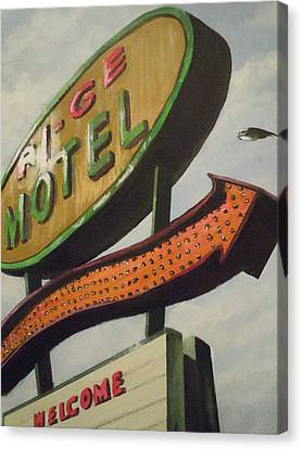 Canvas Print featuring the painting Ri-ge Motel by James Guentner