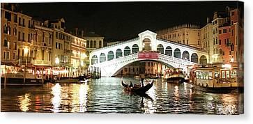 Rialto Bridge Night Scene Canvas Print