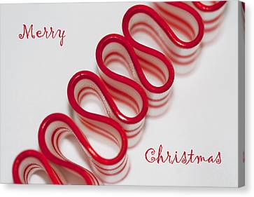 Ribbon Candy Peppermint Merry Christmas Canvas Print by Kathy Clark