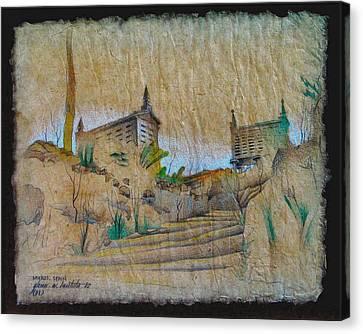 Rice Storage In Muros 1982 Canvas Print by Glenn Bautista