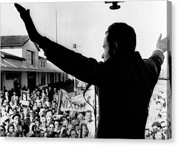 Richard Nixon Campaigning For Governor Canvas Print by Everett