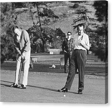 Richard Nixon Playing Golf Canvas Print by Everett