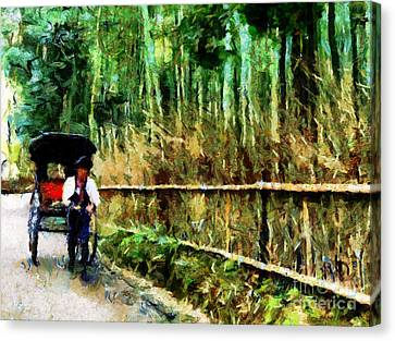 Rickshaw In A Bamboo Forest Canvas Print