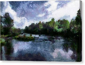 Canvas Print featuring the painting Rideau River View From A Bridge by Mario Carini