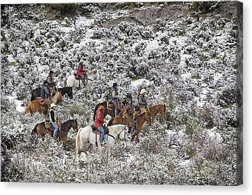 Riders In The Snowy Sage Canvas Print by Judy Deist