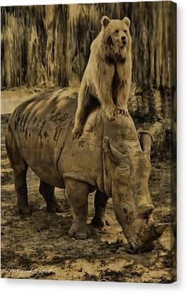 Riding Along- Rhino And Bear Canvas Print by Lourry Legarde