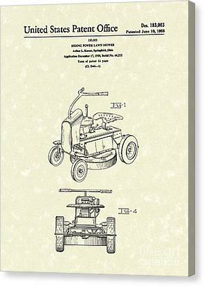 Riding Power Lawn Mower Patent Art  Canvas Print by Prior Art Design