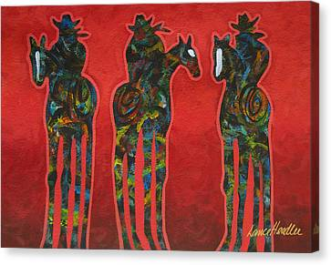 Riding Red Canvas Print by Lance Headlee