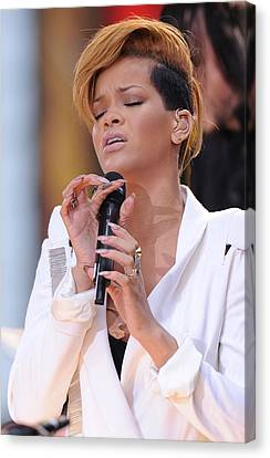 Rihanna On Stage For Good Morning Canvas Print by Everett