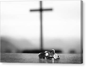 Rings And Cross Canvas Print by Kelly Hazel
