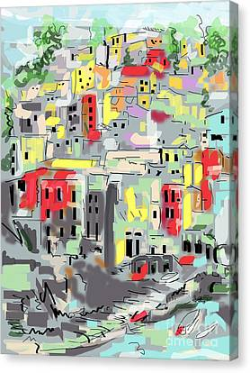 Riomaggiore Italy Moucasso Painting Canvas Print by Ginette Callaway