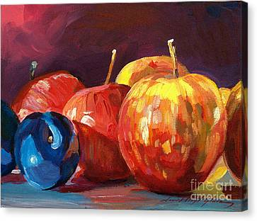Ripe Plums And Apples Canvas Print by David Lloyd Glover