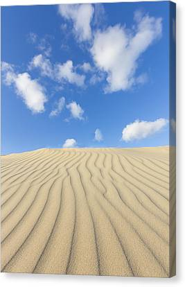 Rippled Sand Dune And Blue Sky With Clouds Canvas Print by Rob Kints
