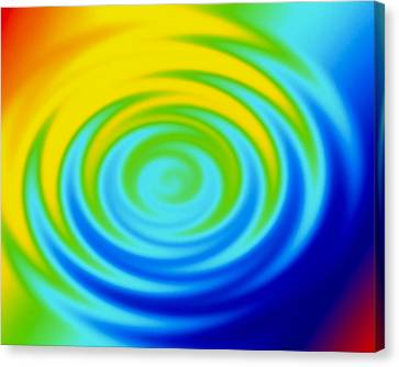 Ripples From Water Drop In Colours Canvas Print by Mehau Kulyk
