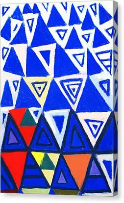 Rising Blue Triangles Canvas Print by Kazuya Akimoto