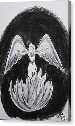 Canvas Print featuring the drawing Rising From The Flames by Serene Maisey