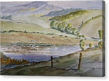 Canvas Print featuring the painting River Birds  by Rob Hemphill