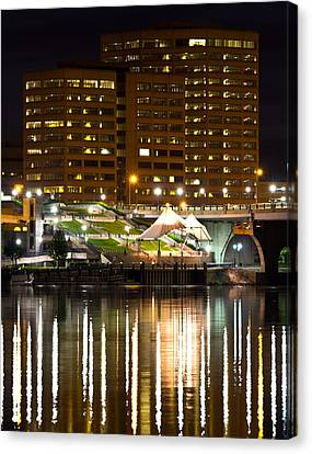 River Front At Night Canvas Print by Frank Pietlock