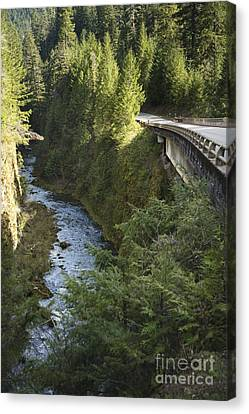 River In Gorge Next To Highway Canvas Print by Ned Frisk