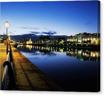 River Liffey, Sunset, View Of Customs Canvas Print by The Irish Image Collection