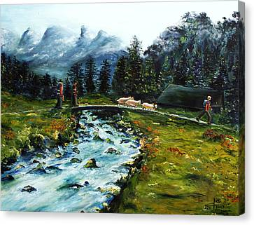Canvas Print featuring the painting River Of Dreams by Itzhak Richter