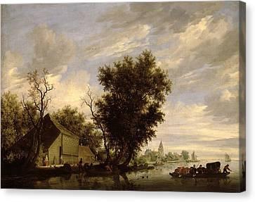 River Scene With A Ferry Boat Canvas Print by Salomon van Ruysdael