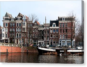 River Scenes From Amsterdam Canvas Print by Carol Ailles
