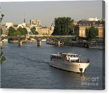 River Seine In Paris Canvas Print by Bernard Jaubert