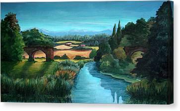 River Stour At Sturminster Newton Dorset England Canvas Print by Ethel Vrana