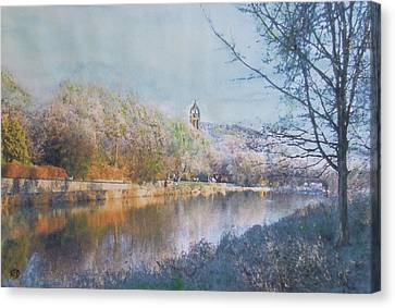 River Walk Reflections Peebles Canvas Print by Richard James Digance