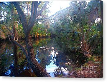 Riverbank Reflections1 Canvas Print