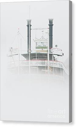 Riverboat In The Fog Canvas Print by Jeremy Woodhouse
