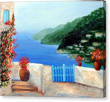 Canvas Print featuring the painting Riviera by Larry Cirigliano