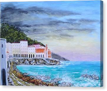 Riviera Ligure Canvas Print by Larry Cirigliano