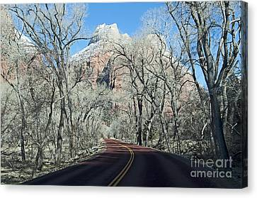 Canvas Print featuring the photograph Road Through Zion Canyon by Bob and Nancy Kendrick