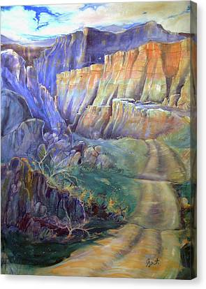 Canvas Print featuring the painting Road To Rainbow Gulch by Gertrude Palmer