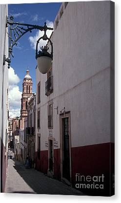 Canvas Print featuring the photograph Road To The Cathedral Zacatecas Mexico by John  Mitchell