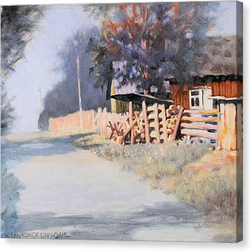 Woodpile Canvas Print - Roadside by Kevin Lawrence Leveque