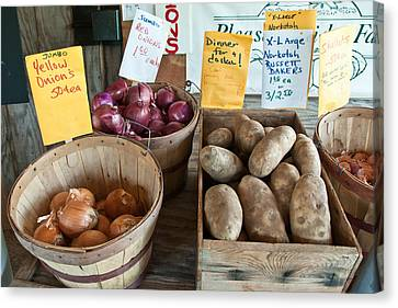 Roadside Produce Stand Onions Potatoes Shallots Canvas Print by Denise Lett