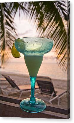 Roatans West Bay, Tropical Drink Canvas Print by Richard Nowitz