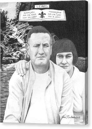 Canvas Print featuring the drawing Robert And Theresa Lewis by Ana Tirolese
