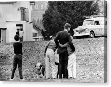 Robert Kennedy Is Comforted By Two Canvas Print by Everett