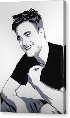 Canvas Print featuring the painting Robert Pattinson 1 by Audrey Pollitt