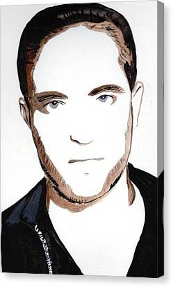 Canvas Print featuring the painting Robert Pattinson 10 by Audrey Pollitt