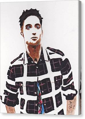 Canvas Print featuring the painting Robert Pattinson 11a by Audrey Pollitt