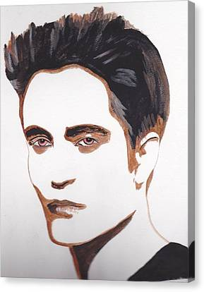 Canvas Print featuring the painting Robert Pattinson 12 by Audrey Pollitt