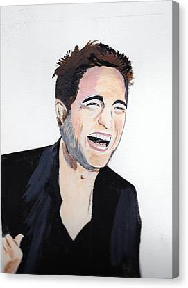 Canvas Print featuring the painting Robert Pattinson 4 by Audrey Pollitt
