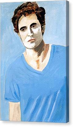 Canvas Print featuring the painting Robert Pattinson 6 by Audrey Pollitt